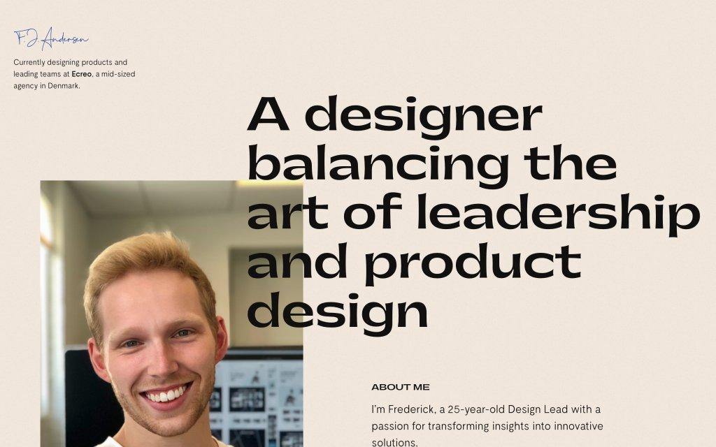 Screenshot of the website Frederick Jan Andersen