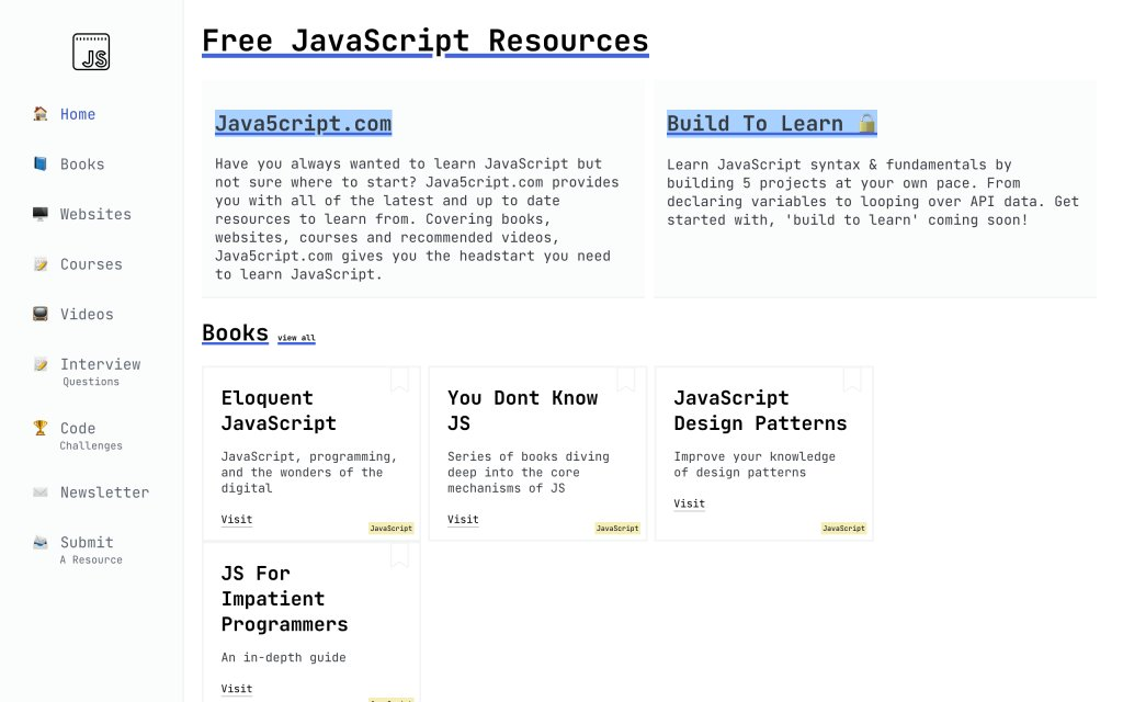 Screenshot of the website Free JavaScript Resources
