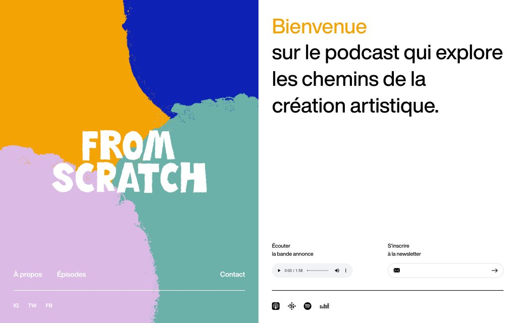 Screenshot of the website From Scratch