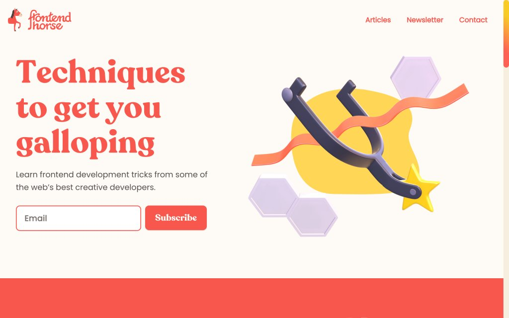 Screenshot of the website Frontend Horse