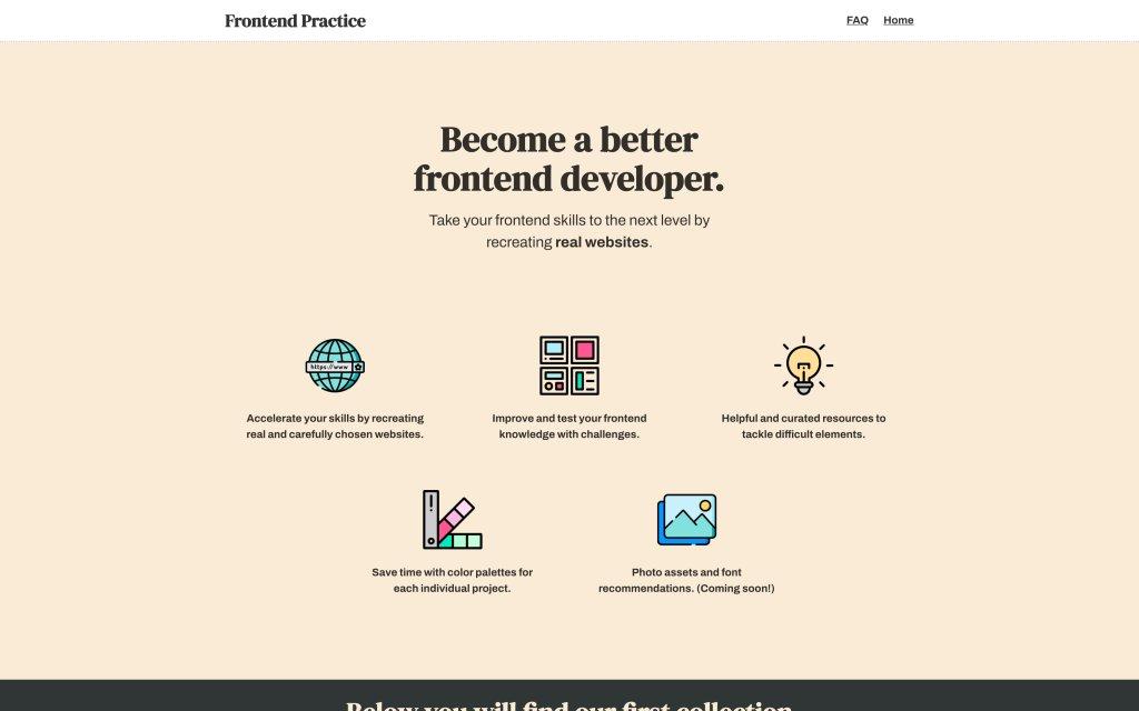 Screenshot of the website Frontend Practice