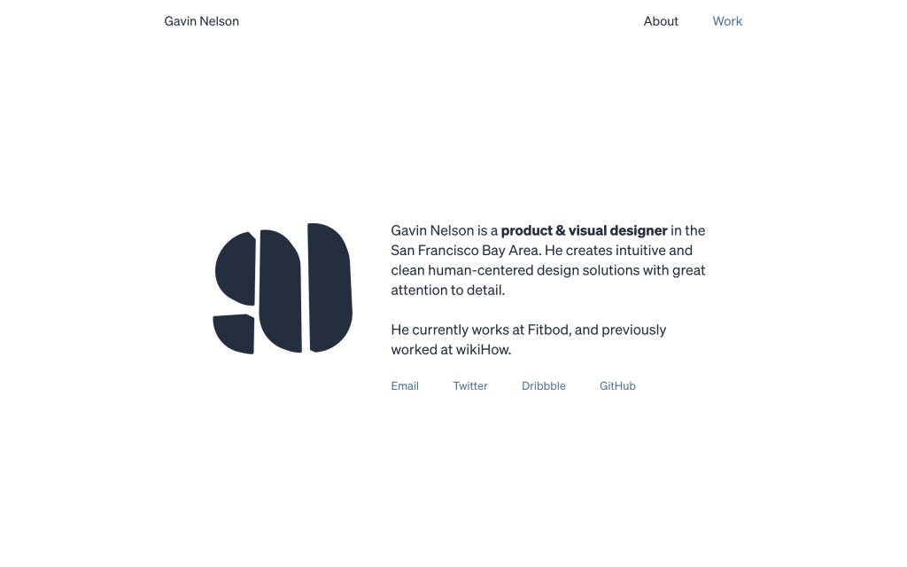 Screenshot of the website Gavin Nelson