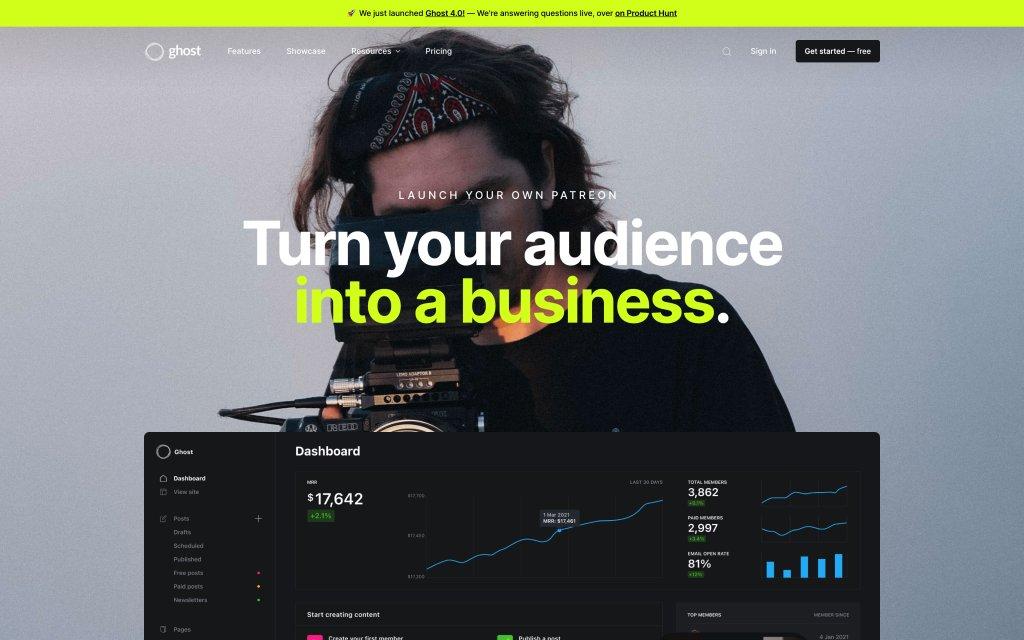 Screenshot of the website Ghost