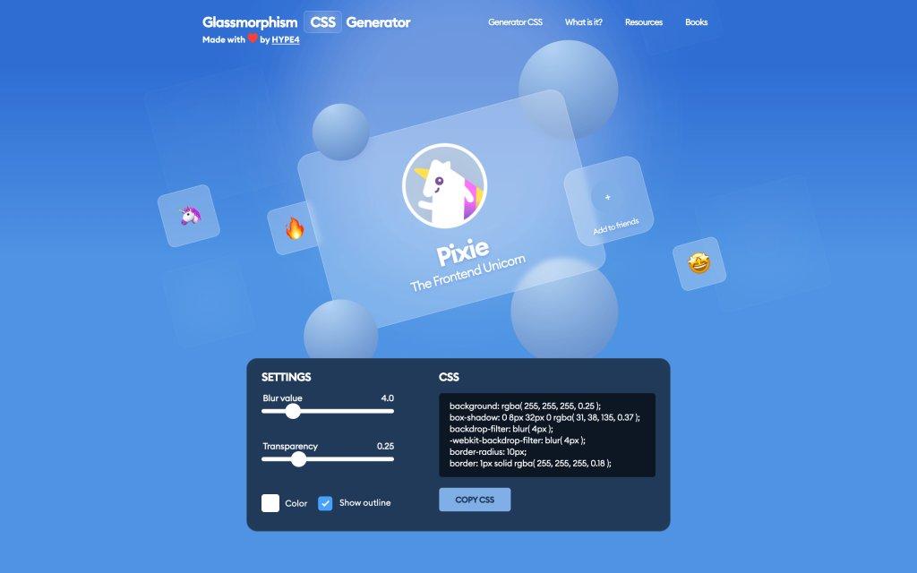 Screenshot of the website Glassmorphism CSS Generator