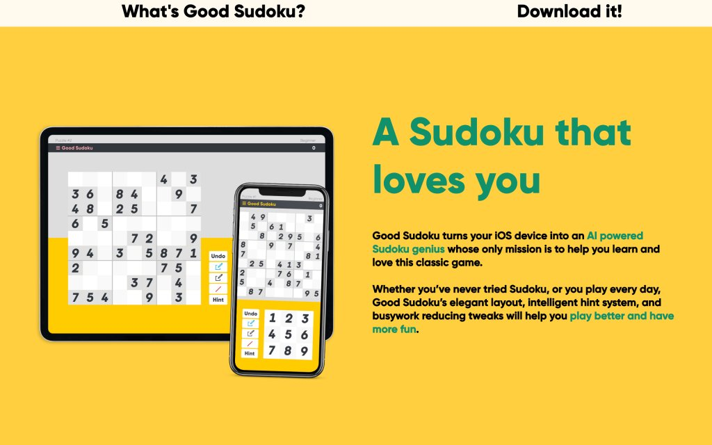 Screenshot of the website Good Sudoku