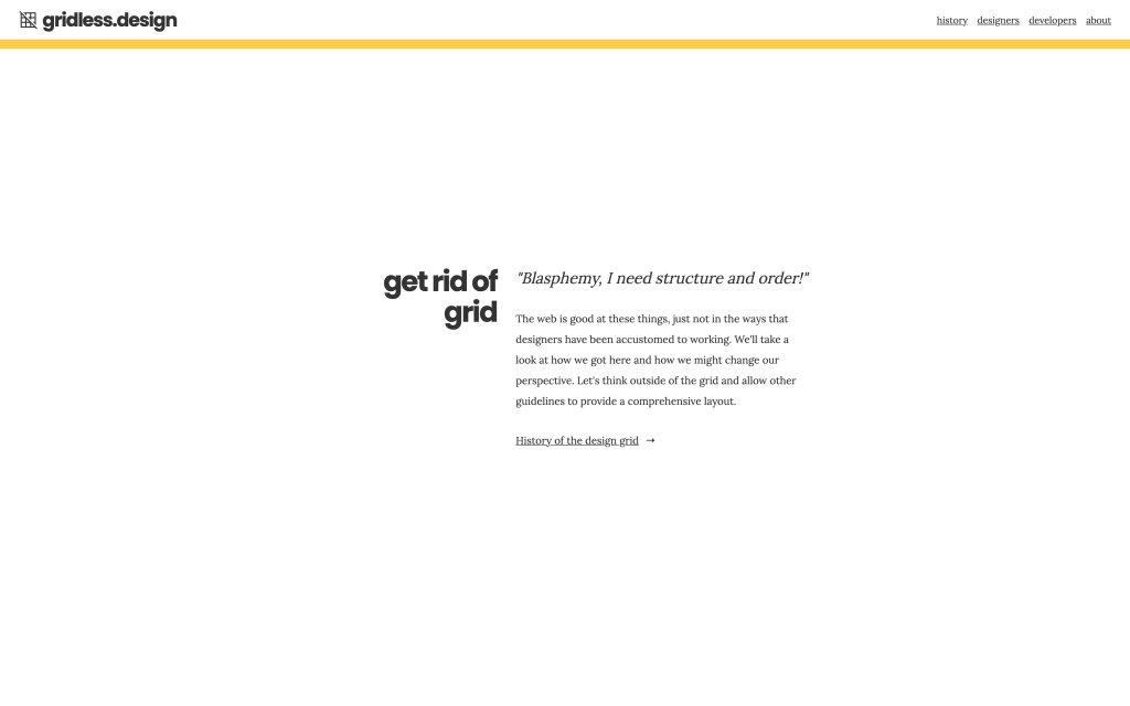 Screenshot of the website gridless.design