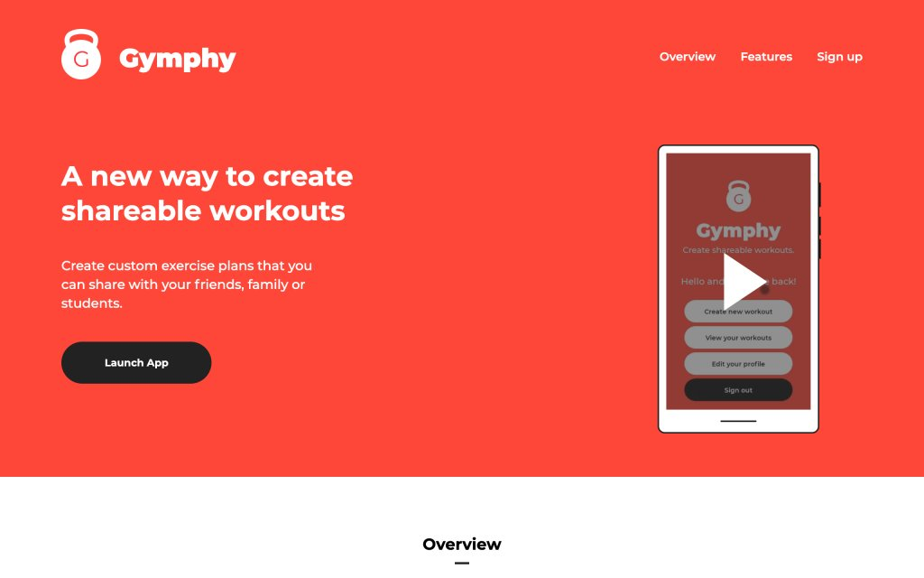 Screenshot of the website Gymphy
