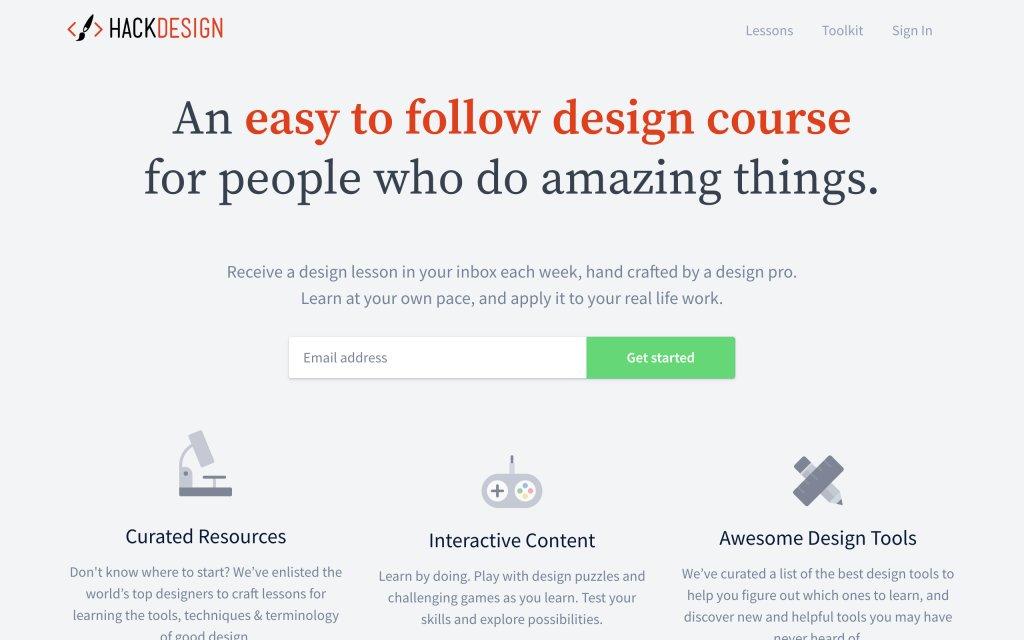 Screenshot of the website Hack Design