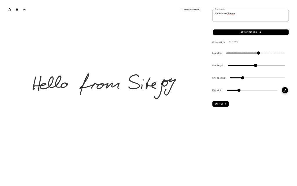 Screenshot of the website Handwriting Generator
