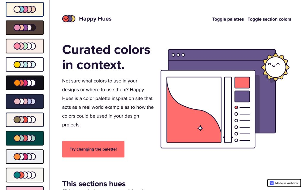 Screenshot of the website Happy Hues