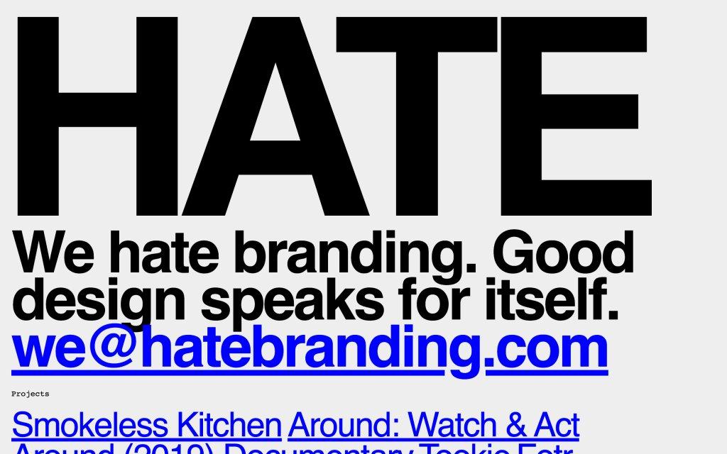 Screenshot of the website Hate Branding