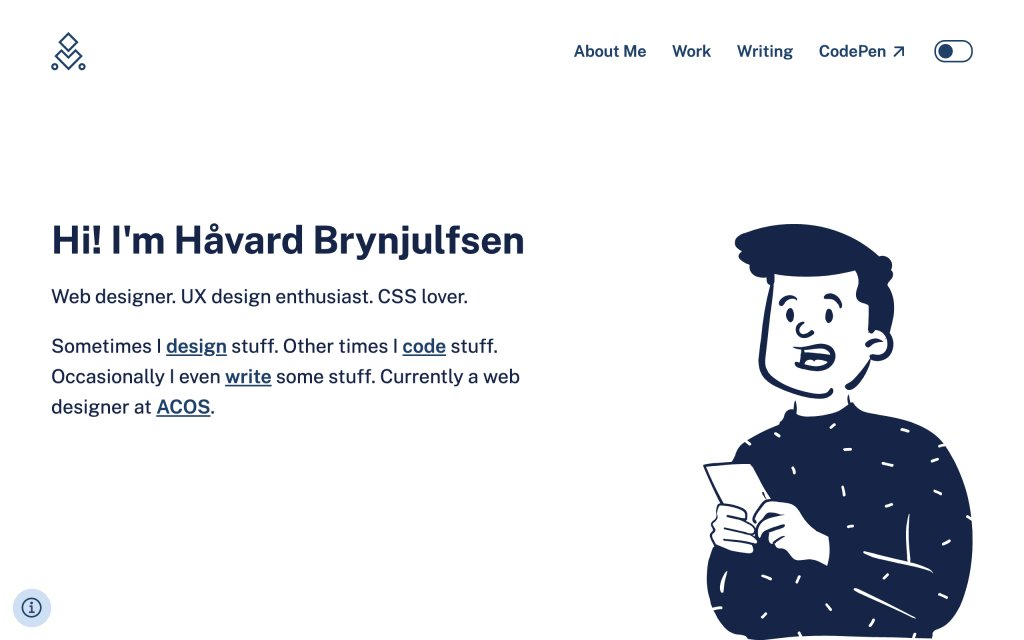 Screenshot of the website Håvard Brynjulfsen