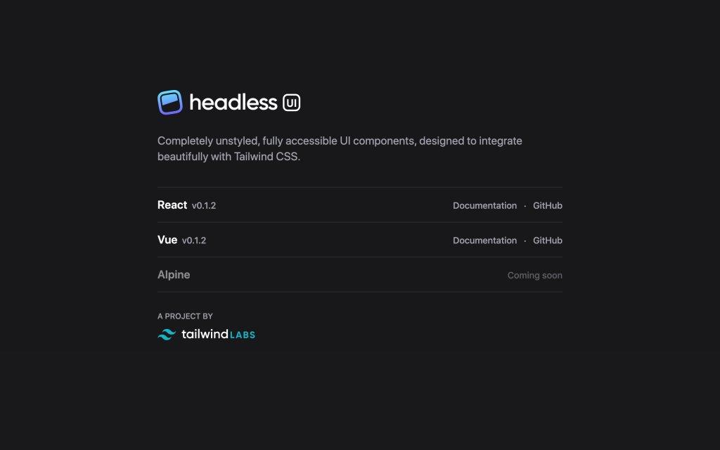 Screenshot of the website Headless UI