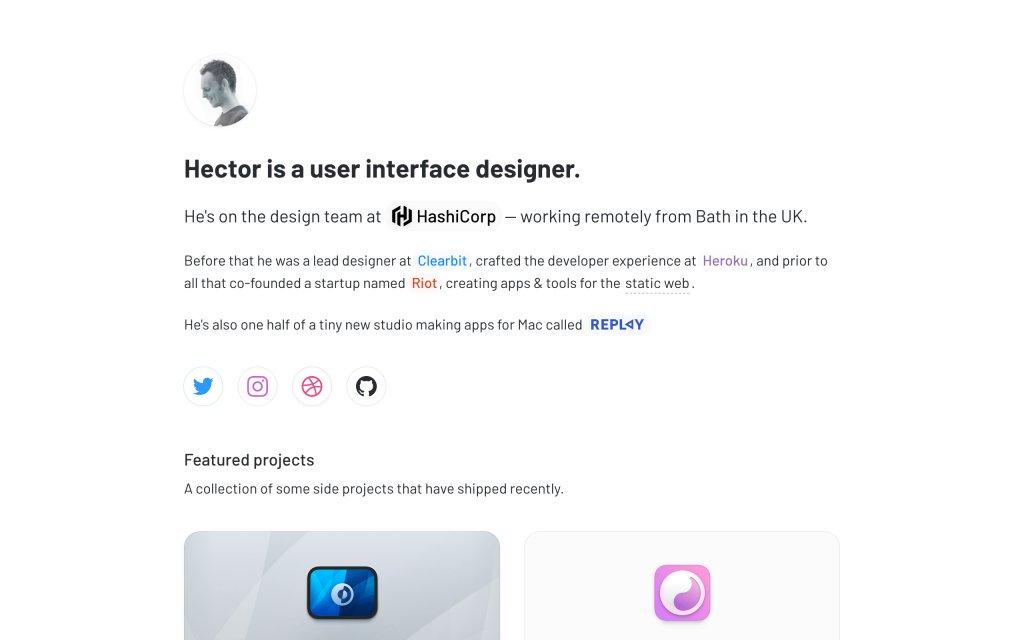 Screenshot of the website Hector Simpson