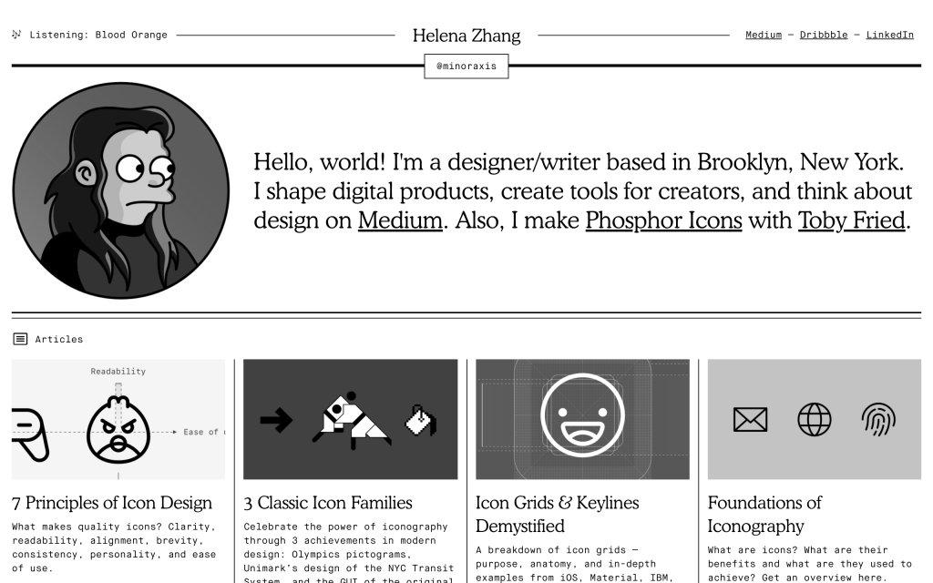 Screenshot of the website Helena Zhang