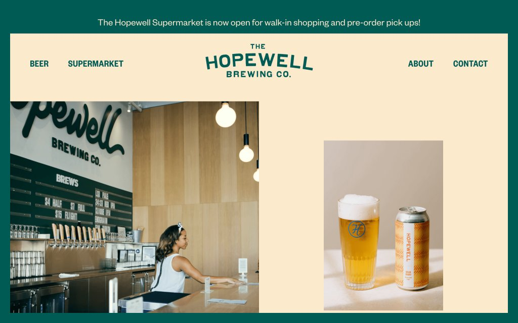 Screenshot of the website Hopewell Brewing Co.