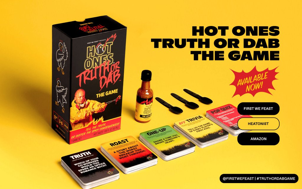 Screenshot of the website Hot Ones Truth or Dab The Game