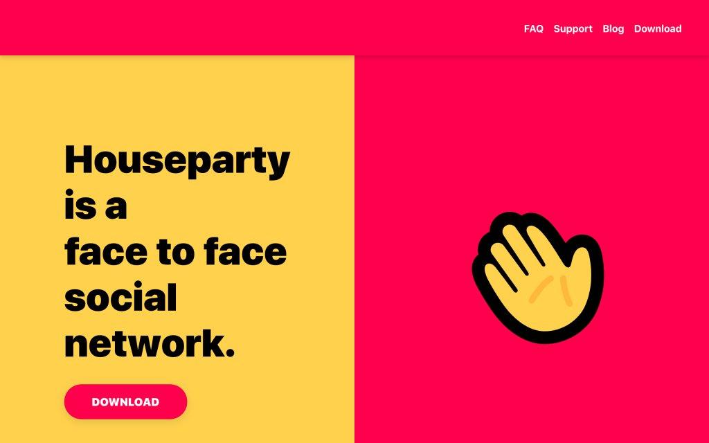 Screenshot of the website Houseparty