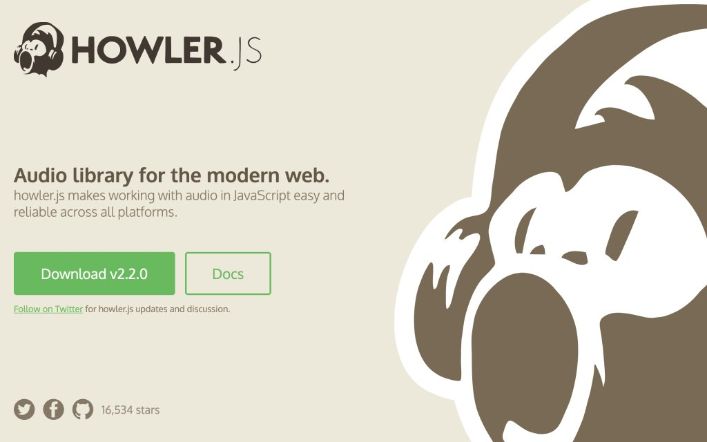 Screenshot of the website howler.js