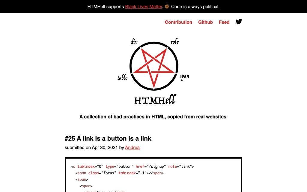 Screenshot of the website HTMHell