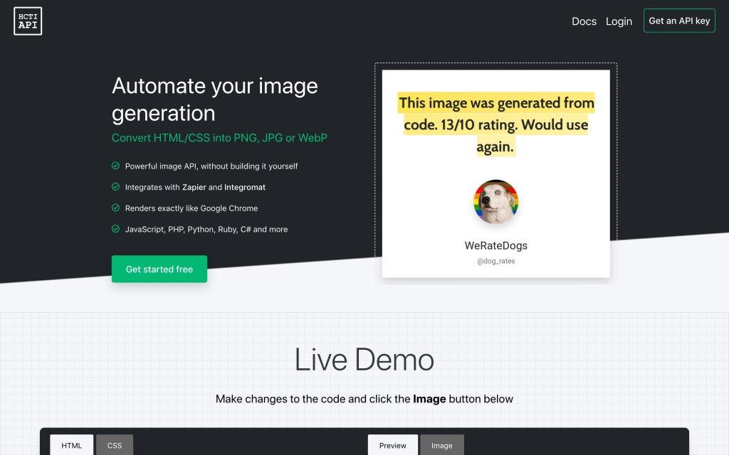 Screenshot of the website HTML/CSS to image API