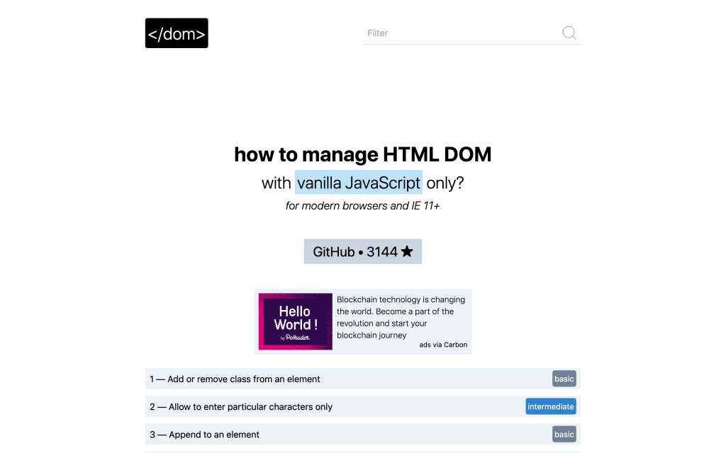 Screenshot of the website HTML DOM
