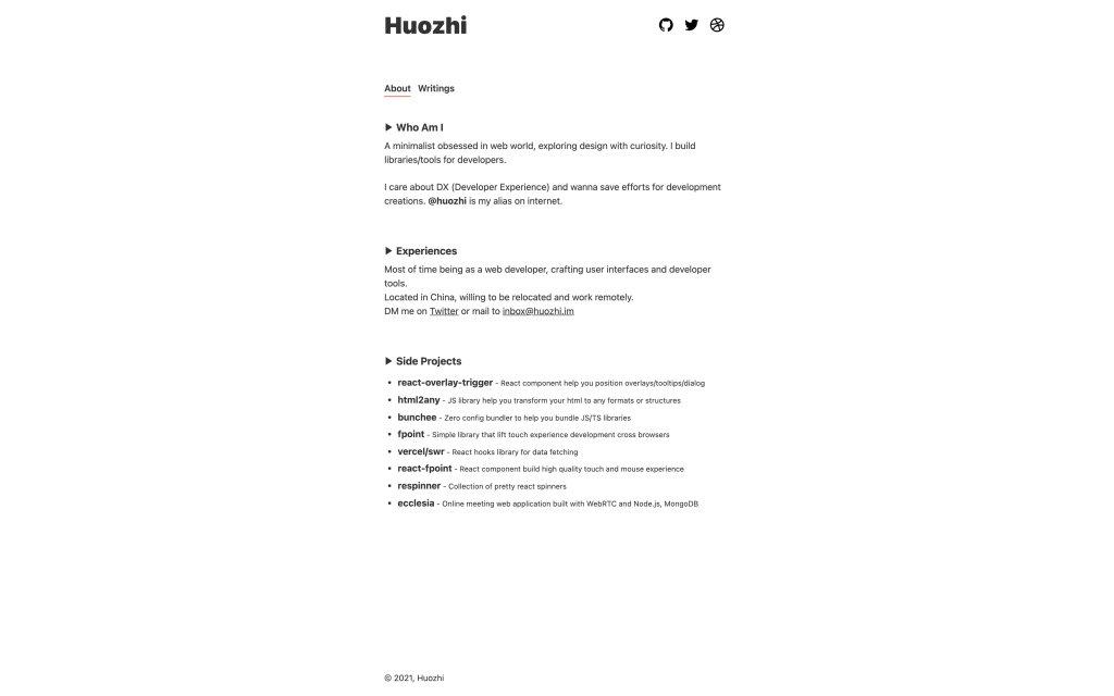 Screenshot of the website Huozhi