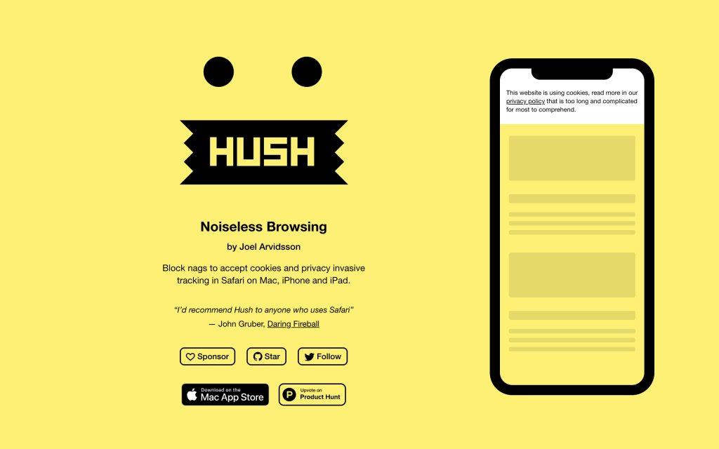 Screenshot of the website Hush