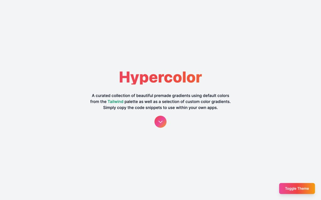 Screenshot of the website Hypercolor