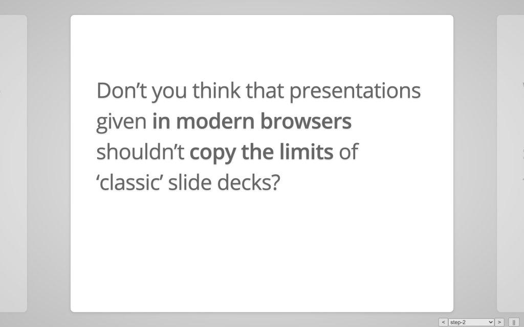 Screenshot of the website impress.js