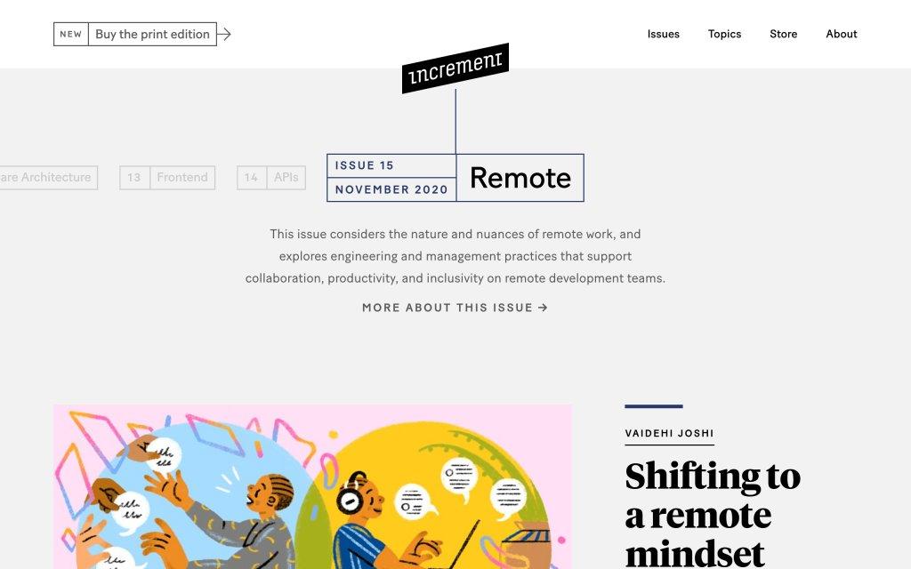 Screenshot of the website Increment