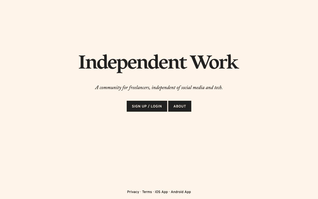 Screenshot of the website Independent Work