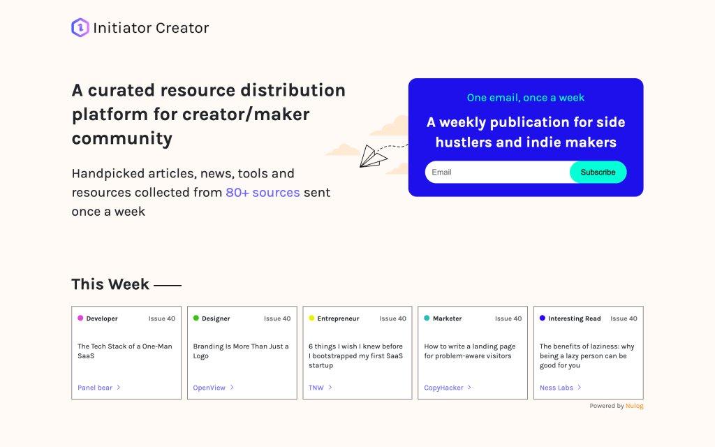 Screenshot of the website Initiator Creator
