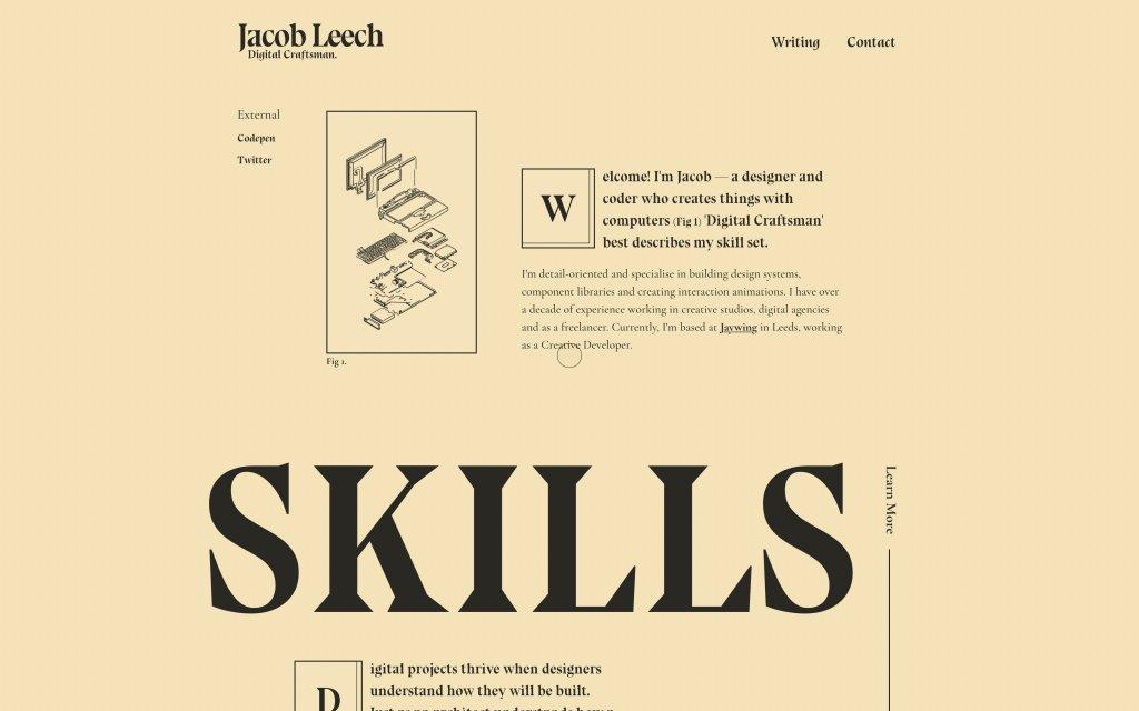 Screenshot of the website Jacob Leech