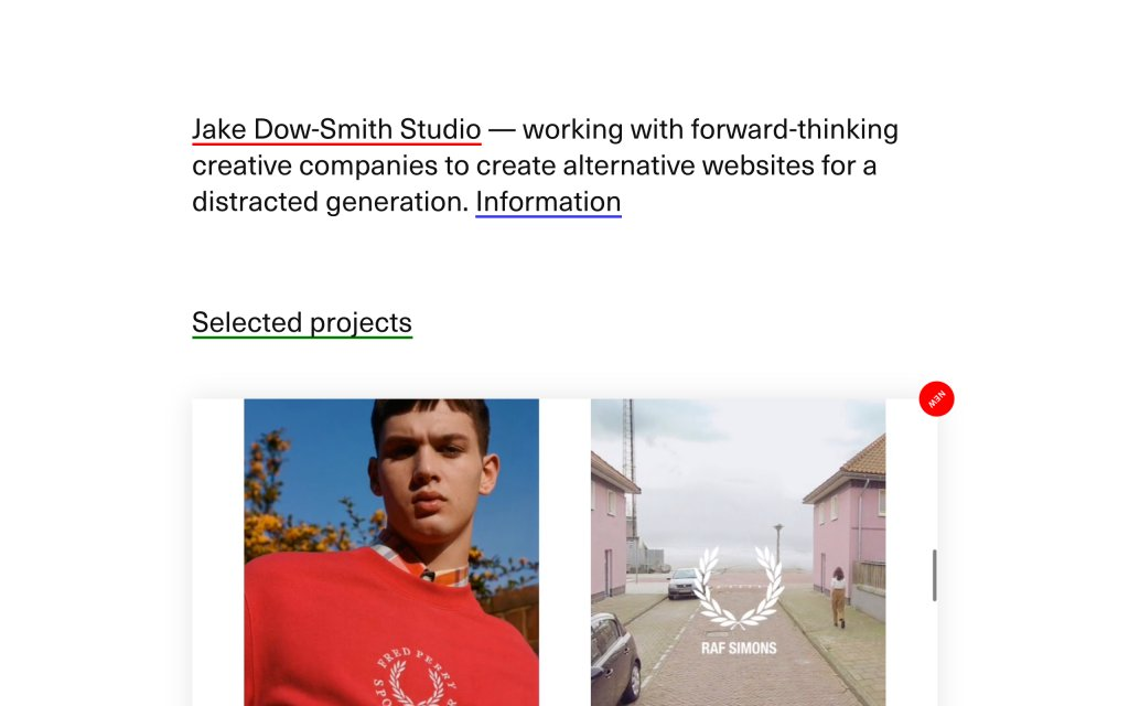 Screenshot of the website Jake Dow Smith Studio