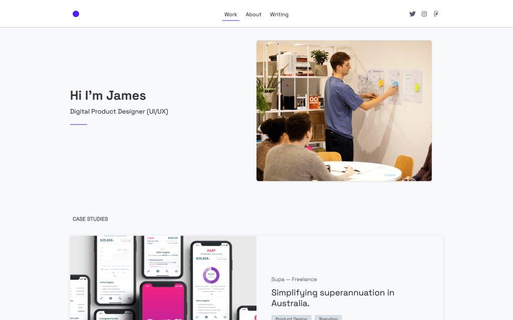 Screenshot of the website James Norton