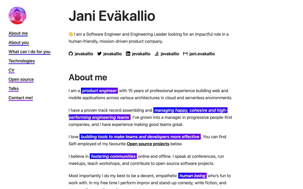 Screenshot of the website Jani Eväkallio
