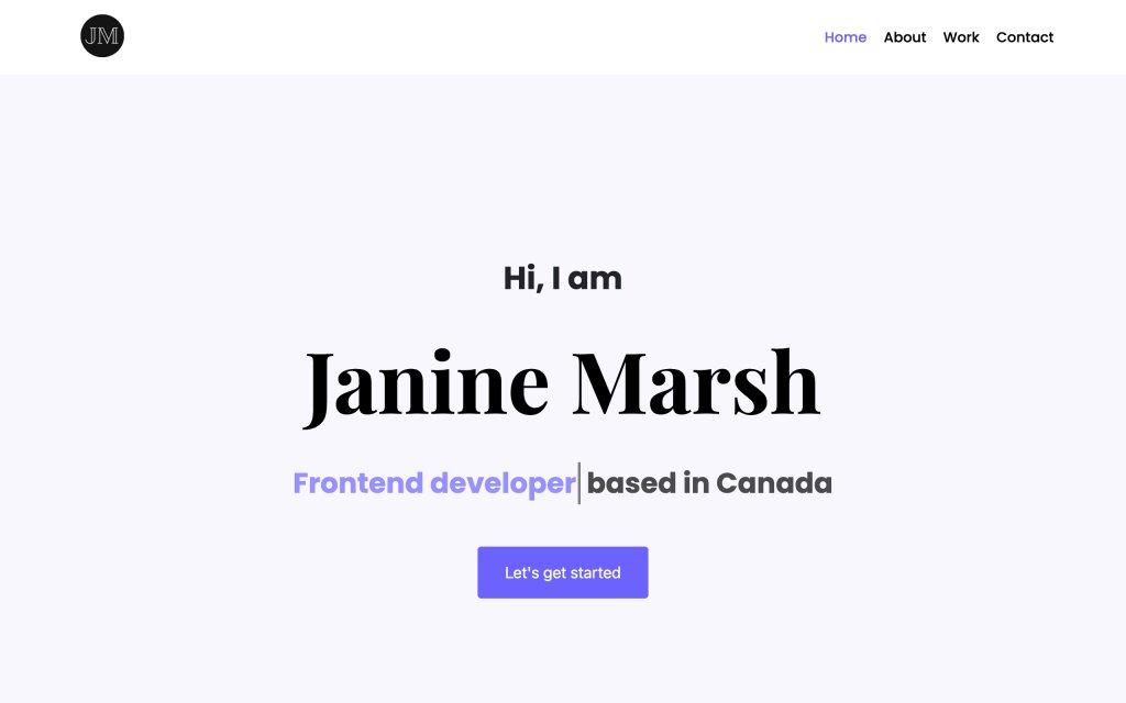 Screenshot of the website Janine Marsh