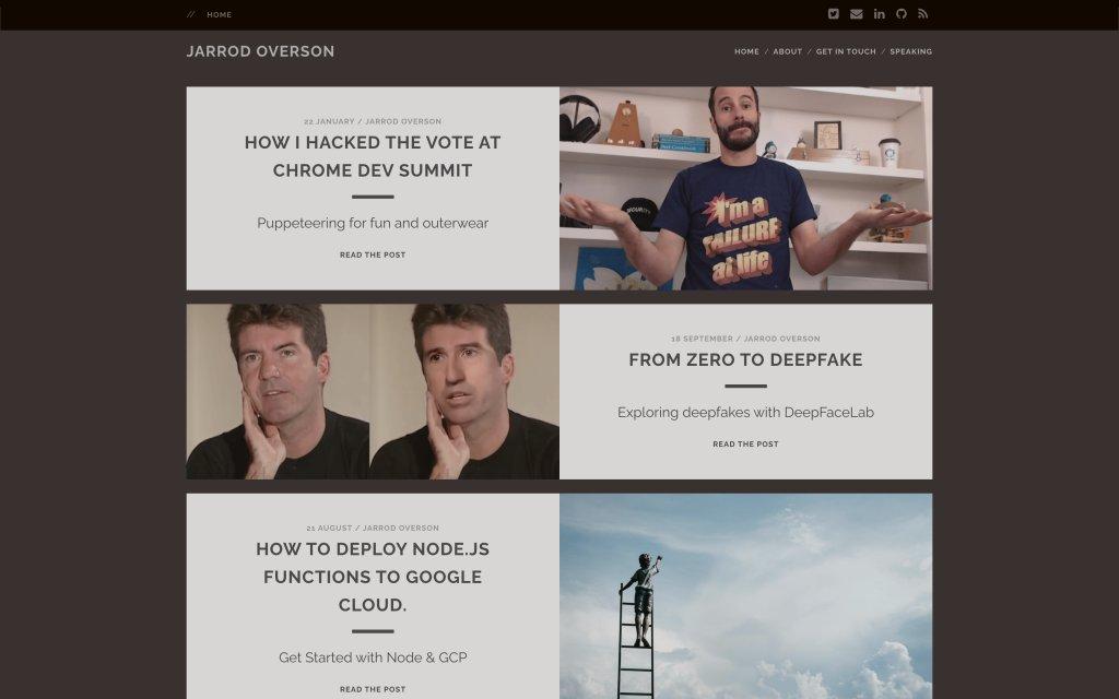 Screenshot of the website Jarrod Overson