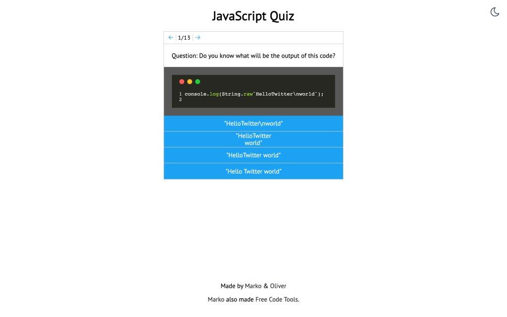 Screenshot of the website JavaScript Quiz