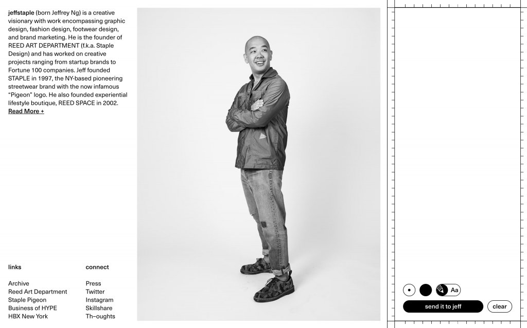 Screenshot of the website jeffstaple