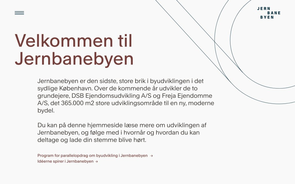 Screenshot of the website Jernbanebyen