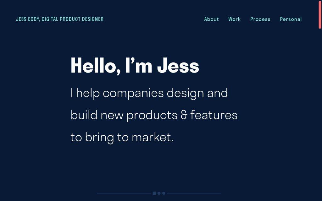 Screenshot of the website Jess Eddy