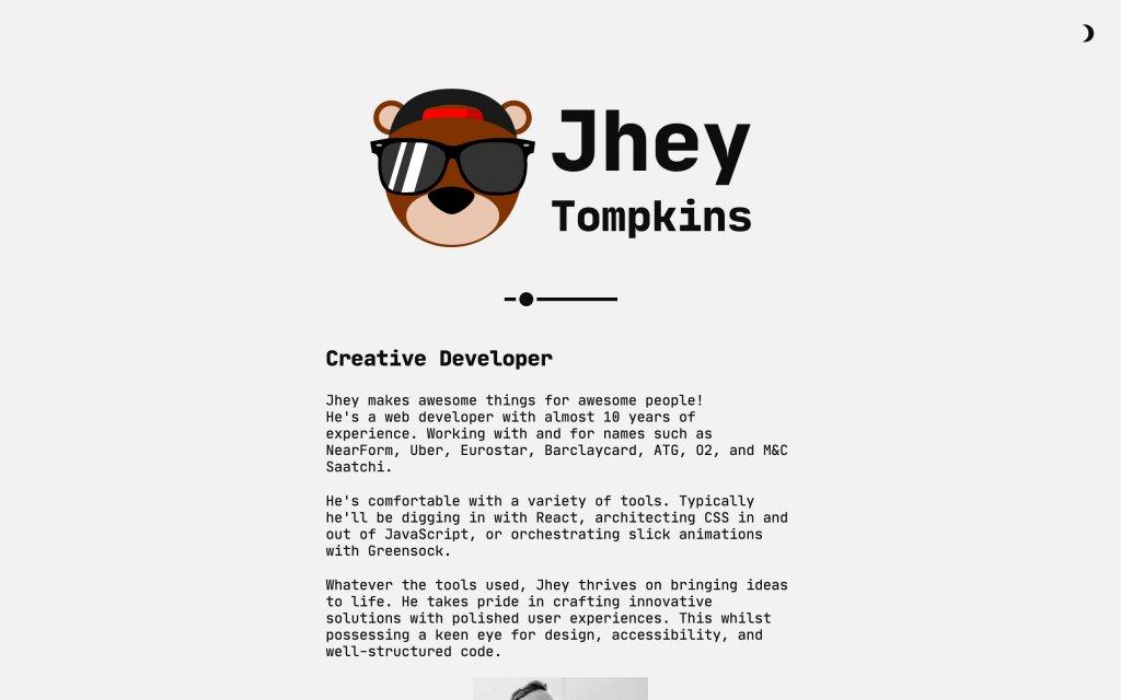 Screenshot of the website Jhey Tompkins