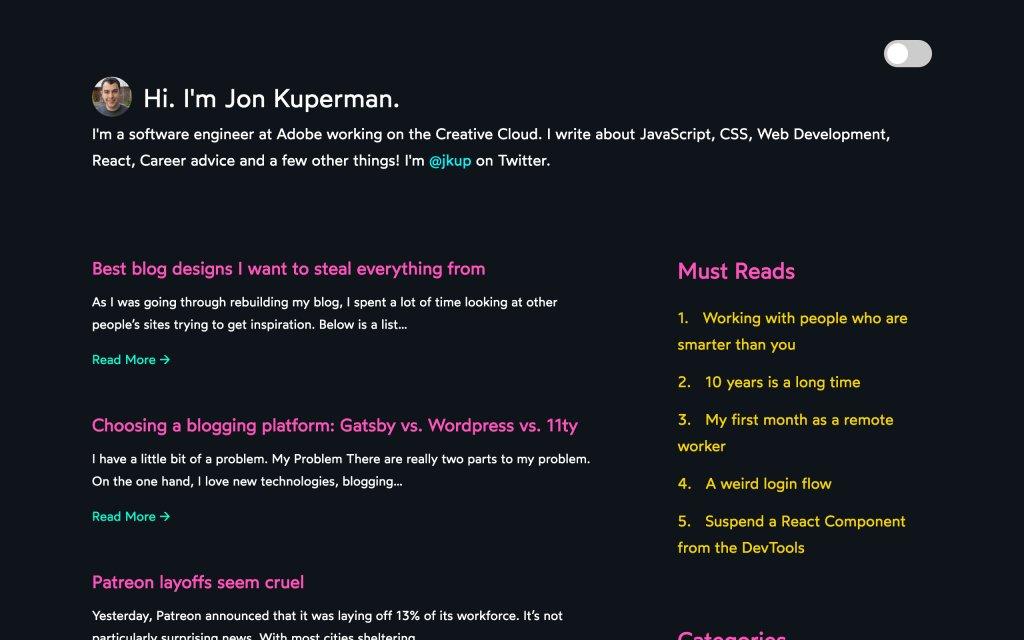 Screenshot of the website Jon Kuperman