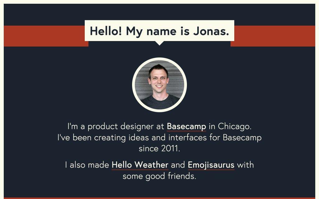 Screenshot of the website Jonas Downey
