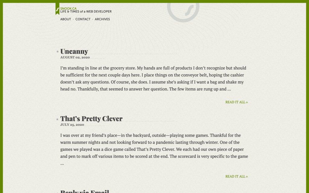 Screenshot of the website Jonathon Snook
