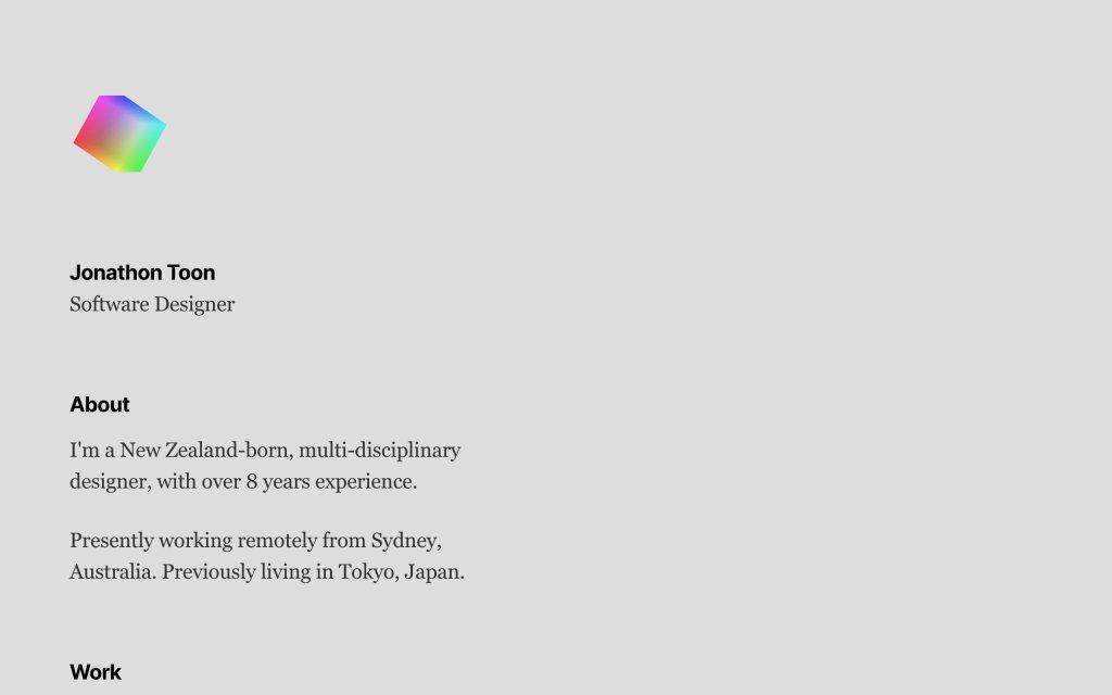 Screenshot of the website Jonathon Toon