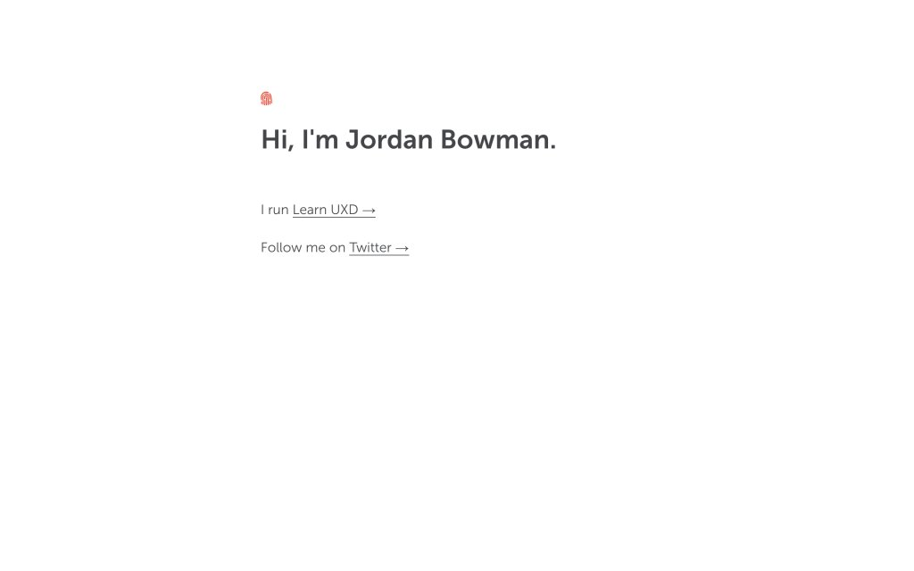 Screenshot of the website Jordan Bowman