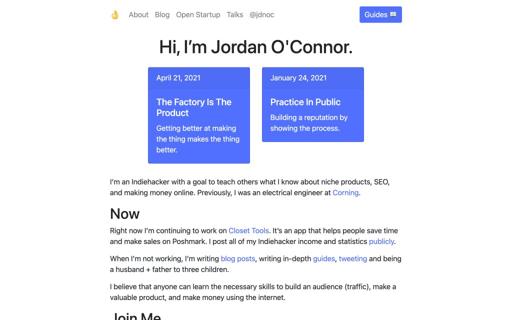 Screenshot of the website Jordan O'Connor